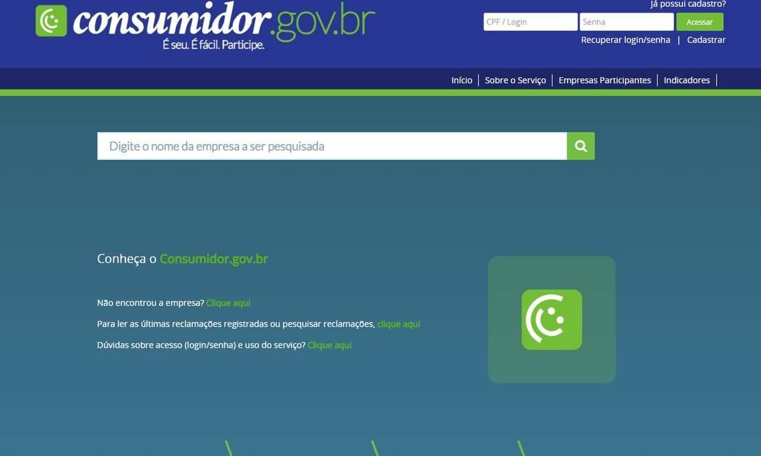 Plataforma consumidor.gov.br Foto: Reprodução