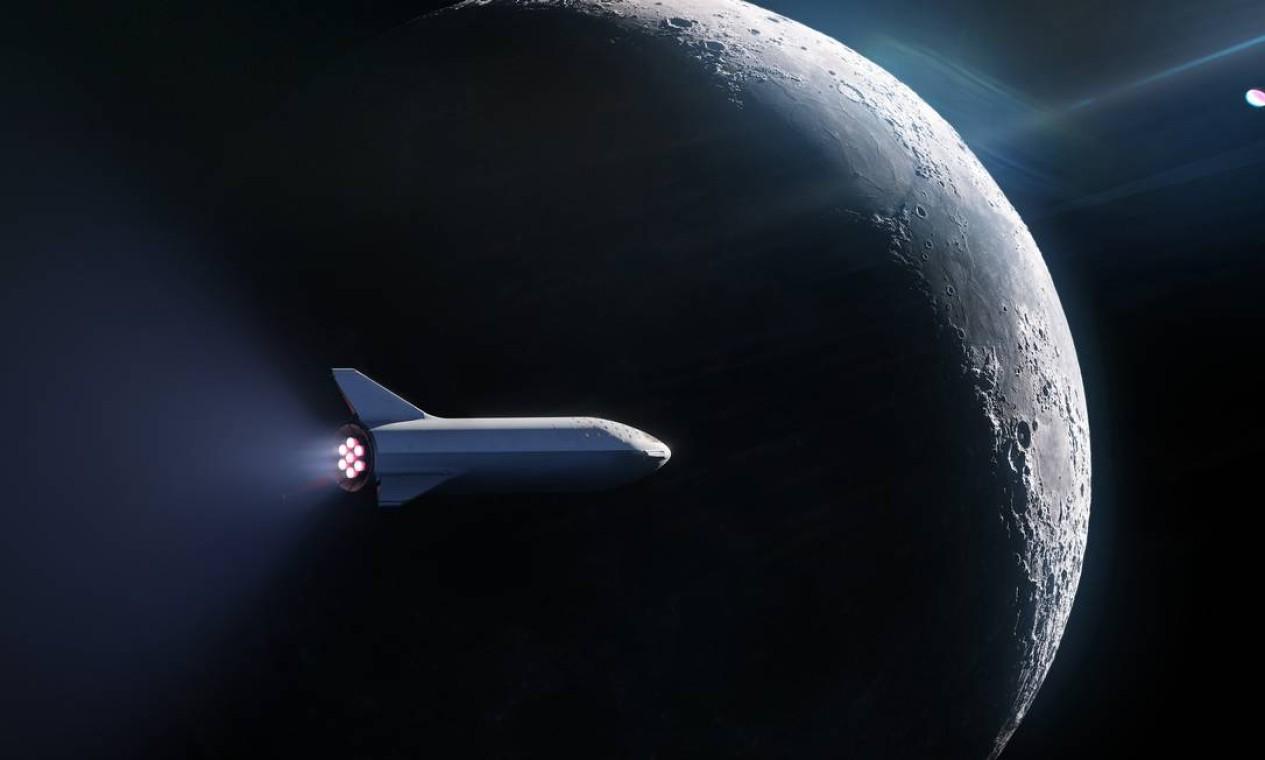 Turismo espacial. Projeto da aeronave BFR da SpaceX. Empresa está na corrida pelo turismo espacial, já tendo apresentado diversos resultados de testes satisfatórios Foto: Divulgação