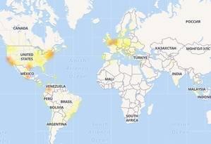 Downdetector, que monitora as falhas do Facebook pelo mundo, mostra que problema foi verificado em vários países do mundo Foto: Reprodução