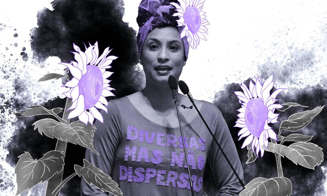 Marielle Franco, vereadora (PSOL-RJ) assassinada em 14 de março de 2018, em pleno exercício do mandato Foto: Arte de Lari Arantes