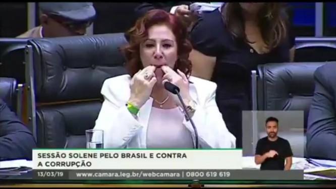 A deputada Carla Zambelli (PSL-SP) assobia na presidência da sessão solene da Câmara Foto: Reprodução