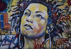 RI - Rio de Janeiro. (RJ) - 11/03/2019 -Grafite em homenagem a vereadora assassinada Marielle Franco na Rua João Pualo I, no bairro do Estácio. Foto: Gabriel Monteiro / Agência O Globo Foto: GABRIEL MONTEIRO / Agência O Globo