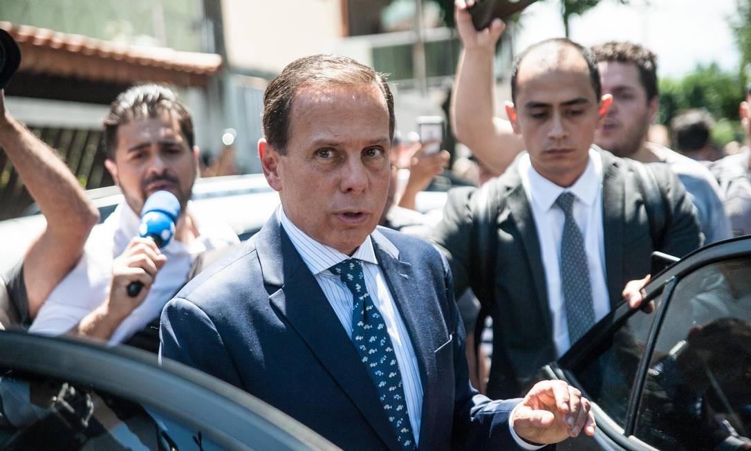 O governador João Doria visitou escola onde ocorreu massacre em Suzano, na quarta-feira Foto: Rogério Gomes/Brazil Photo Press / Agência O Globo