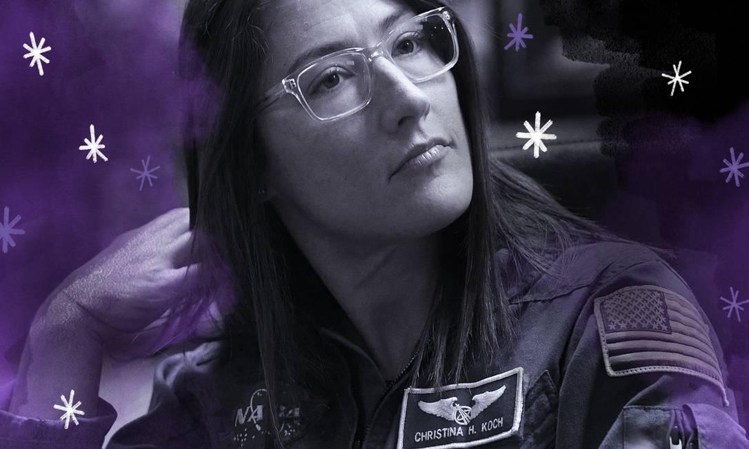 A astronauta Christine Koch Foto: Arte de Lari Arantes sobre foto AFP