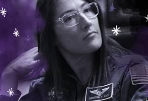 A astronauta americana Christine Koch (foto), que fará a primeira caminhada espacial só de mulheres ao lado de Anne McClain Foto: Arte de Lari Arantes sobre foto AFP