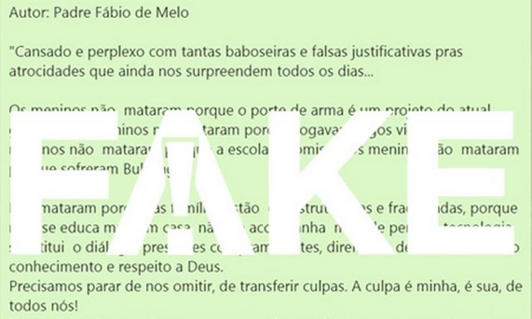 Texto #FAKE atribuído ao Padre Fábio de Melo Foto: Reprodução