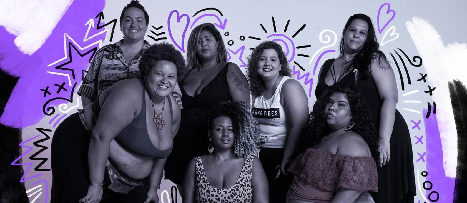 Integrantes do Slam das Minas, que se apresentam após o debate sobre gordofobia no Parque Lage Foto: Arte de Lari Arantes sobre foto de Gabriel Monteiro / Gabriel Monteiro