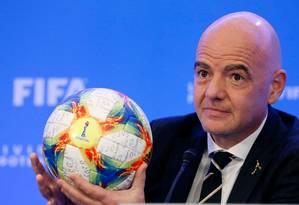 Presidente da Fifa, Gianni Infantino Foto: RHONA WISE / AFP