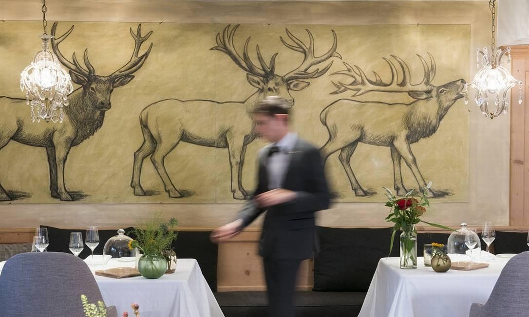 Restaurante St. Hubertus, no Hotel Rosa Alpina Foto: Ssuan Wright / NYT