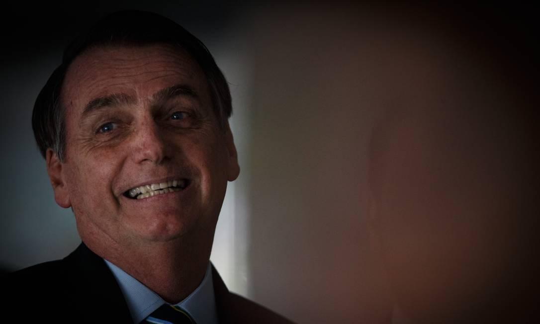 O presidente Jair Bolsonaro, durante visita do presidente do Paraguai, Mario Abdo Benítez Foto: Daniel Marenco/Agência O Globo/12-03-2019