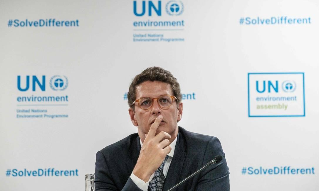 Ricardo Salles participa de assembleia ambiental da ONU: ministro fez alerta contra eventos extremos, mas extinguiu secretaria que estudava as mudanças climáticas Foto: YASUYOSHI CHIBA / AFP