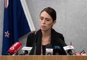A primeira-ministra da Nova Zelândia, Jacinda Ardern, durante coletiva de imprensa neste sábado Foto: MARTY MELVILLE / AFP
