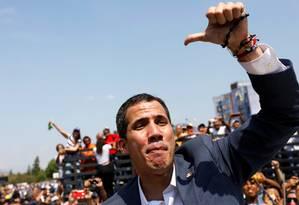 O líder da oposição venezuelana Juan Guaidó em um dos eventos que participou neste sábado no país, na cidade de Guacara Foto: CARLOS JASSO/REUTERS