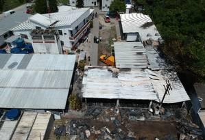 Alojamento no CT do Flamengo totalmente destruído após incêndio Foto: Pablo Jacob / Agência O Globo