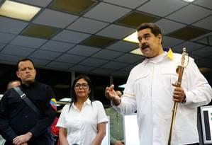 Maduro, ao lado da vice-presidente Delcy Rodríguez, prometeu uma reestruturação da estatal Corpoelec e criar uma unidade nas forças armadas focada na proteção de infraestruturas essenciais contra ataques cibernéticos Foto: HANDOUT / REUTERS