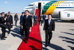 O presidente Jair Bolsonaro desembarca em Washington Foto: Terceiro / Agência O Globo