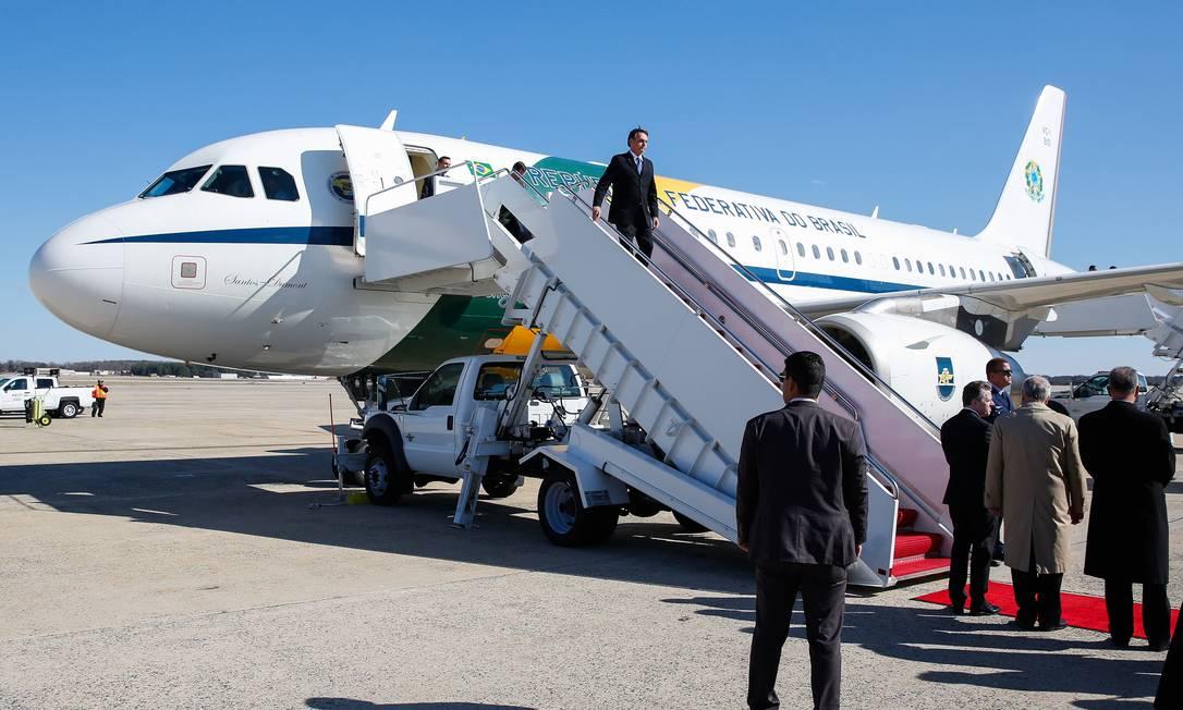 Presidente Jair Bolsonaro chega a Washington DC, nos Estados Unidos. Um dos temas a ser discutido é a liberação da base de Alcântara (MA) para exploração americana Foto: Terceiro / Agência O Globo