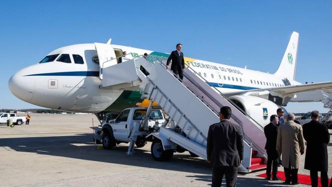 Presidente Jair Bolsonaro chega a Washington DC, nos Estados Unidos. Um dos temas a ser discutido é a liberação da base de Alcântara (MA) para exploração americana Foto: Divulgação PR