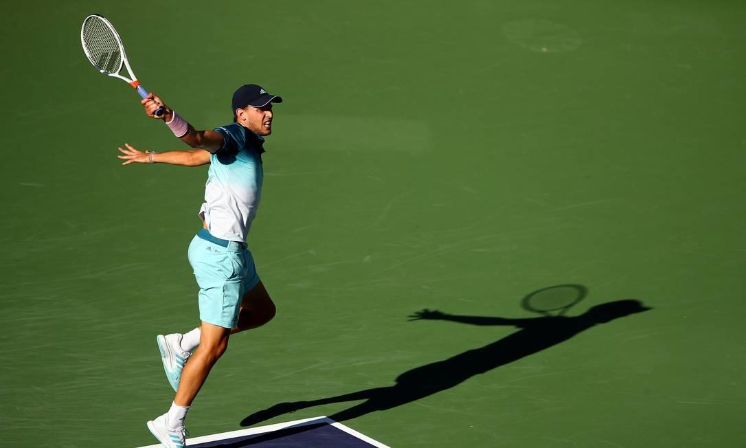Dominic Thiem surpreendeu Roger Federer na final em Indian Wells de 2019 Foto: CLIVE BRUNSKILL / AFP