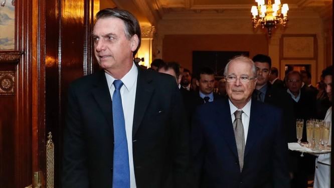 Presidente Jair Bolsonaro, acompanhado do Embaixador Sérgio Amaral, embaixador do Brasil em Washington Foto: Agência O Globo