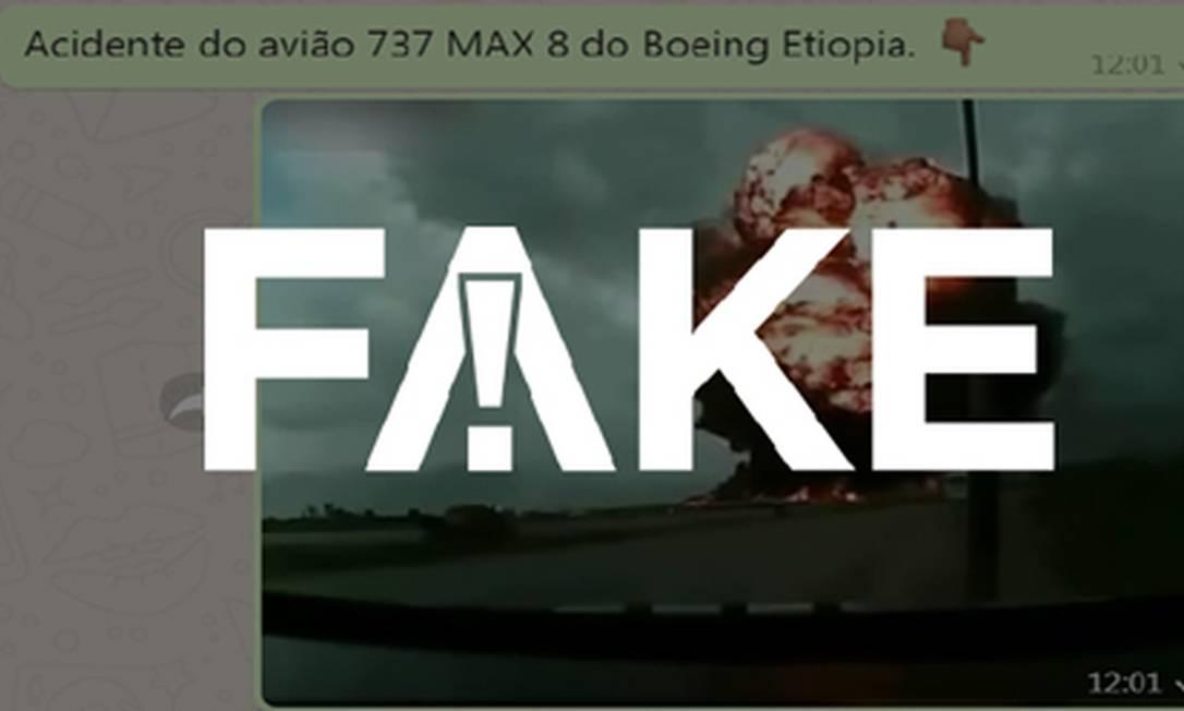 Mensagem mostra acidente de 2013 no Afeganistão como se fosse queda de Boeing na Etiópia em 2019 Foto: Reprodução
