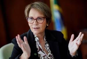 Tereza Cristina, ministra da Agricultura do Brasil Foto: Ueslei Marcelino / Reuters