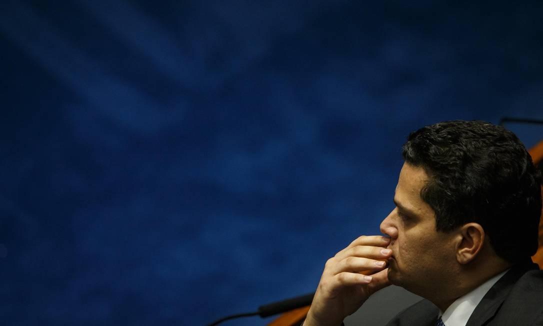 O presidente do Senado, Davi Alcolumbre, mantém em sigilo as notas fiscais de serviços pagos com verba de gabinete em três pequenas gráficas de Brasília Foto: Daniel Marenco / Agência O Globo