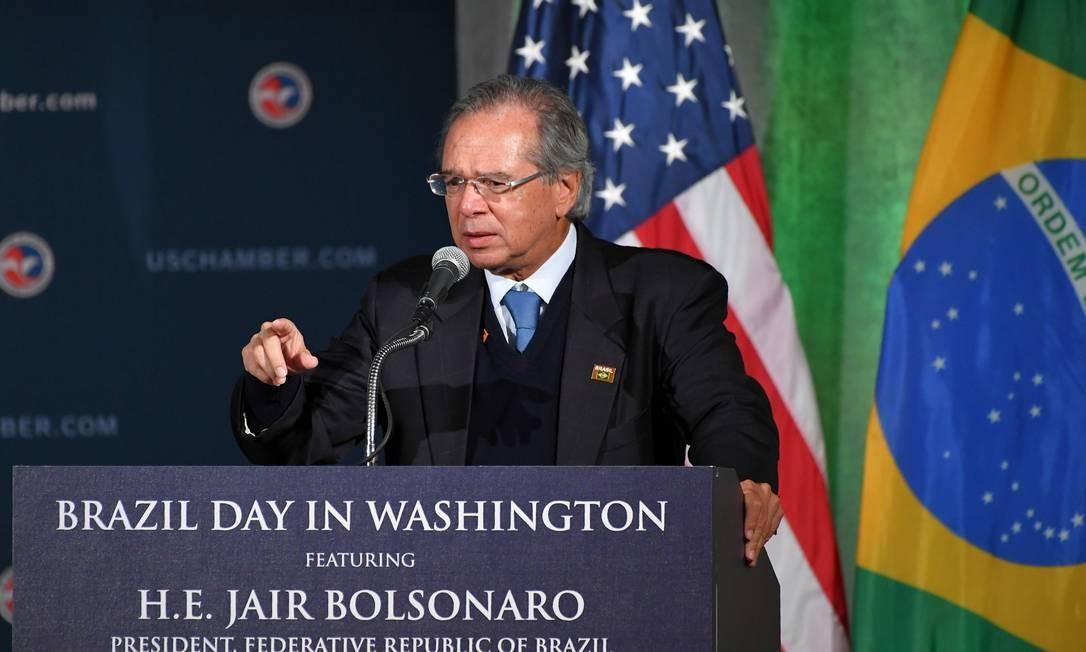 O ministro da Economia Paulo Guedes durante discurso na Câmara de Comércio dos EUA Foto: MANDEL NGAN / AFP