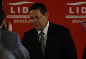 O vice-presidente Hamilton Mourão participa de almoço promovido pelo Lide Foto: Daniel Marenco/Agência O Globo