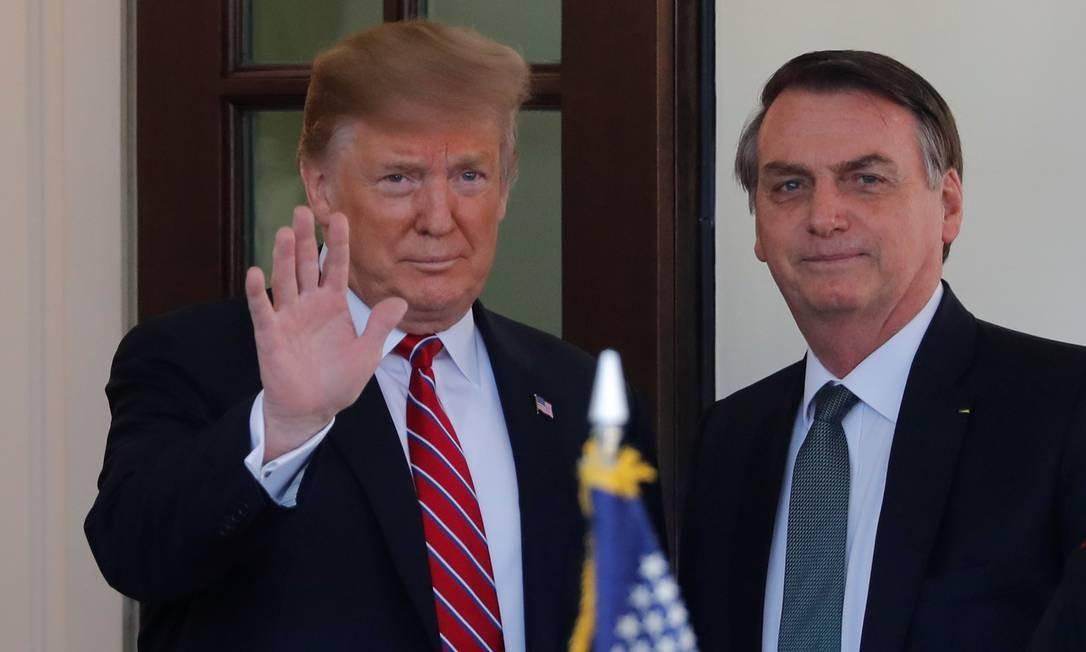 O presidente dos Estados Unidos, Donald Trump, recebe Jair Bolsonaro para reunião na Casa Branca Foto: CARLOS BARRIA / REUTERS / 19/03/2019