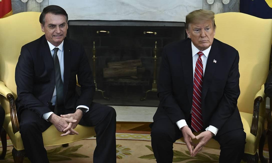 Durante encontro, Trump disse que Brasil e Estados Unidos nunca estiveram tão próximos quanto agora Foto: BRENDAN SMIALOWSKI / AFP
