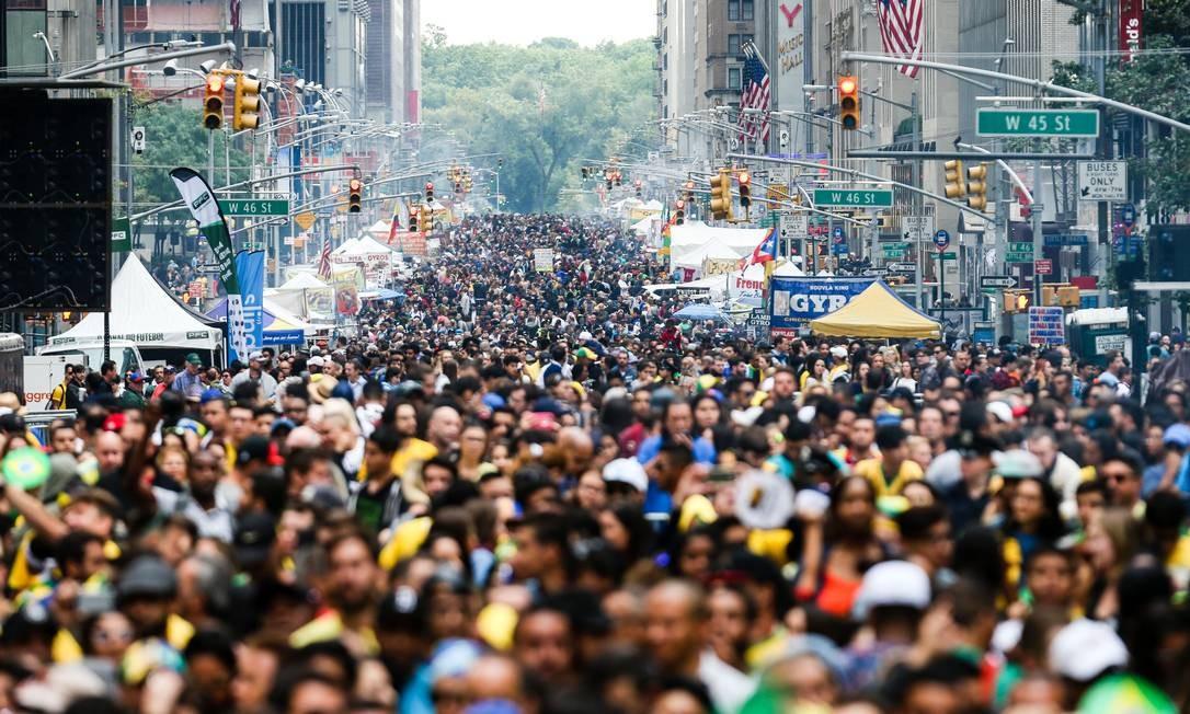 Comunidade brasileira no Estados Unidos é tão grande que há até um dia, o Brazilian Day, no calendário de Nova York para homenageá-los. Lá, Bolsonaro recebeu mais de 87% dos votos válidos em 2018. Foto: VANESSA CARVALHO / Agência O Globo