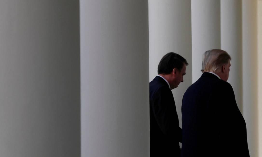 Bolsonaro e Trump na Casa Branca: Venezuela na pauta Foto: CARLOS BARRIA / REUTERS