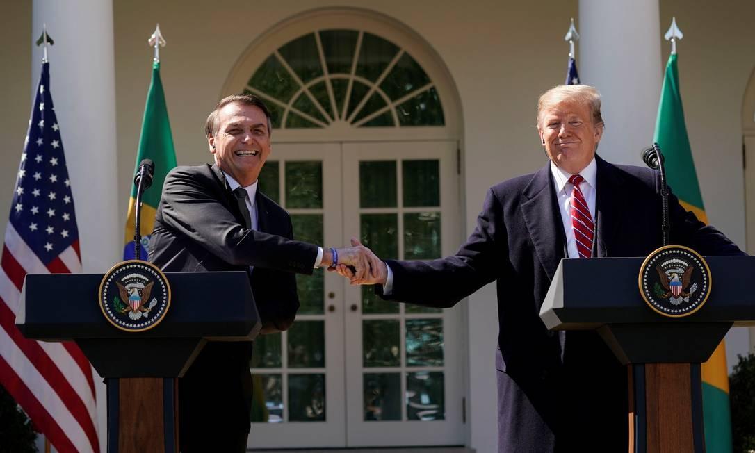 Encontro bilateral entre os presidentes do Brasil, Jair Bolsonaro, e dos EUA, Donald Trump, realizado em março, em Washington. Na ocasião, foram firmados diversos acordos entre os países Foto: KEVIN LAMARQUE / REUTERS