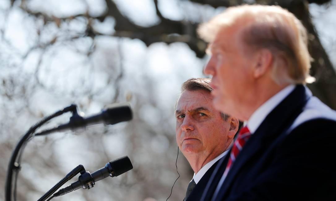 No encontro de março deste ano, Trump promoteu também designar o Brasil como um aliado importante extra-Otan, o que foi cumprido. Brasil, em contrapartida, se comprometeu a abrir mão do status de nação em desenvolvimento na Organização Mundial do Comércio (OMC) Foto: CARLOS BARRIA / REUTERS