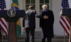 Bolsonaro se reúne com Donald Trump na Casa Branca, nos EUA Foto: KEVIN LAMARQUE / REUTERS