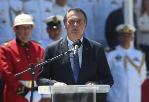 O presidente Jair Bolsonaro em evento do Corpo de Fuzileiros navais na Praça Mauá, no Rio Foto: Pedro Teixeira/7-3-2019