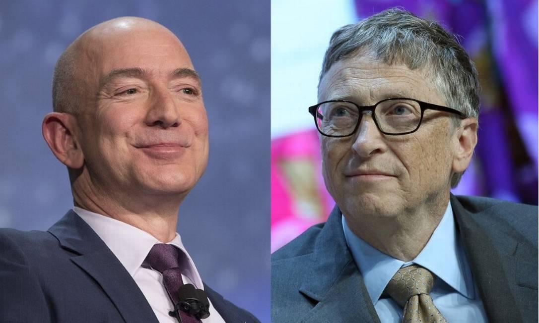 Bezos, da Amazon, e Gates, da Microsoft: fortuna de 12 dígitos Foto: / Bloomberg