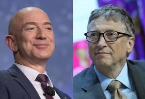 Bezos, da Amazon, e Gates, da Microsoft: fortuna de 12 dígitos Foto: Bloomberg