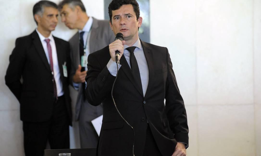 O ministro da Justiça, Sergio Moro, no lançamento da Frente Parlamentar da Segurança Foto: Gilmar Felix / Câmara