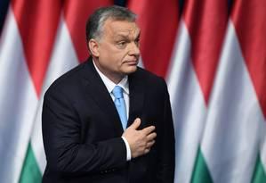 O primeiro-ministro húngaro e presidente do Fidesz Viktor Orbán Foto: ATTILA KISBENEDEK / AFP 10-2-19