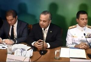 O secretário especial de Previdência e Trabalho, Rogério Marinho, detalha a proposta de reforma da Previdência dos militares Foto: Reprodução/TV