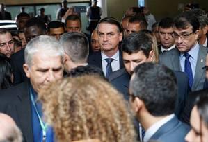 Bolsonaro chega à Câmara para entregar texto sobre Previdência dos militares Foto: Willl Shutter / Agência O Globo
