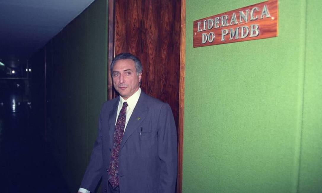 Deputado Michel Temer como líder do PMDB, em 1995 Foto: Ailton de Freitas / Agência O Globo