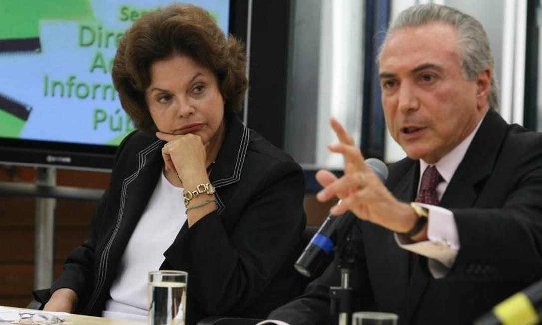 Em 2009, a ministra Chefe da Casa Civil, Dilma Rousseff, e o deputado Michel Temer Foto: Ailton de Freitas / Agência O Globo