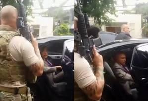 O ex-presidente Michel Temer dentro de um carro no momento da prisão Foto: Reprodução / GloboNews