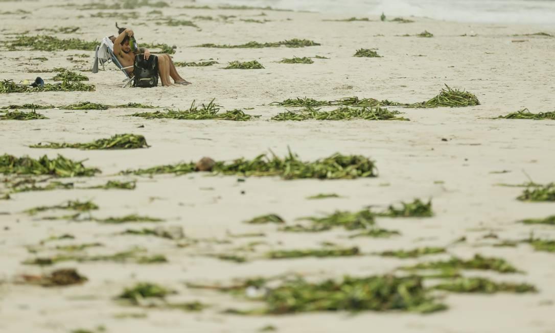 Praia da Barra, tomada de gigogas trazidas pela ressaca no mar Foto: Gabriel de Paiva / Agência O Globo