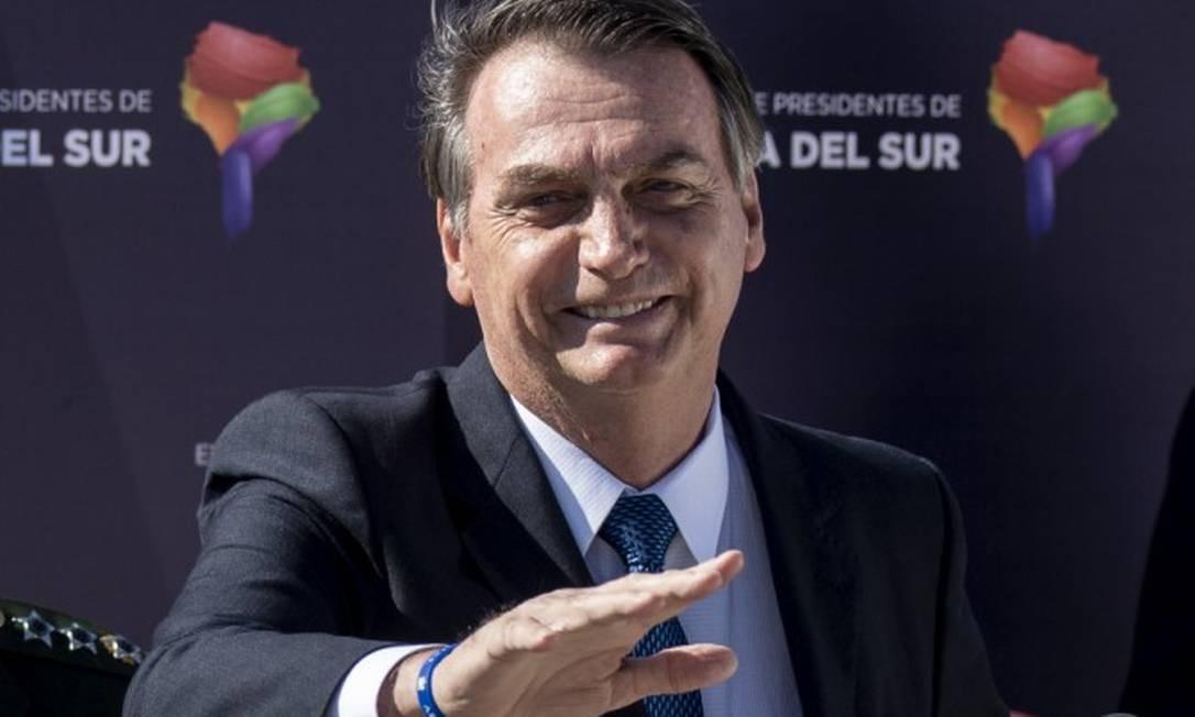 Jair Bolsonaro durante visita a Santiago, capital do Chile Foto: Martin Bernetti / AFP