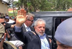 Luiz Inácio Lula da Silva saiu da prisão para ir ao enterro do neto de 7 anos, em São Bernardo do Campo, em 2 de março de 2019 Foto: Ricardo Stuckert / Reuters