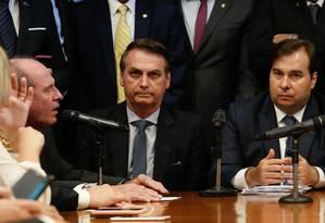 Bolsonaro entrega no Congresso a proposta para a Previdência dos militares. Foto: Carolina Antunes/PR / Agência O Globo